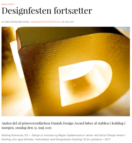 Anden del af prisoverrækkelsen Danish Design Award løber af stablen i Kolding i morgen, onsdag den 31. maj 2017.